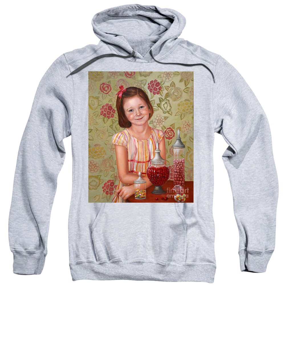 Children Portrait Sweatshirt featuring the painting The Sweet Sneak by Portraits By NC