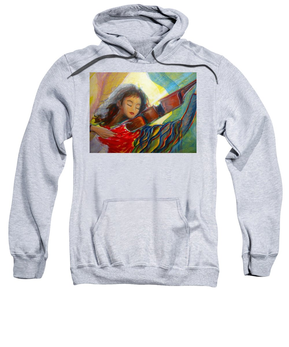 Violin Sweatshirt featuring the painting The Sweetest Sounds by Regina Walsh
