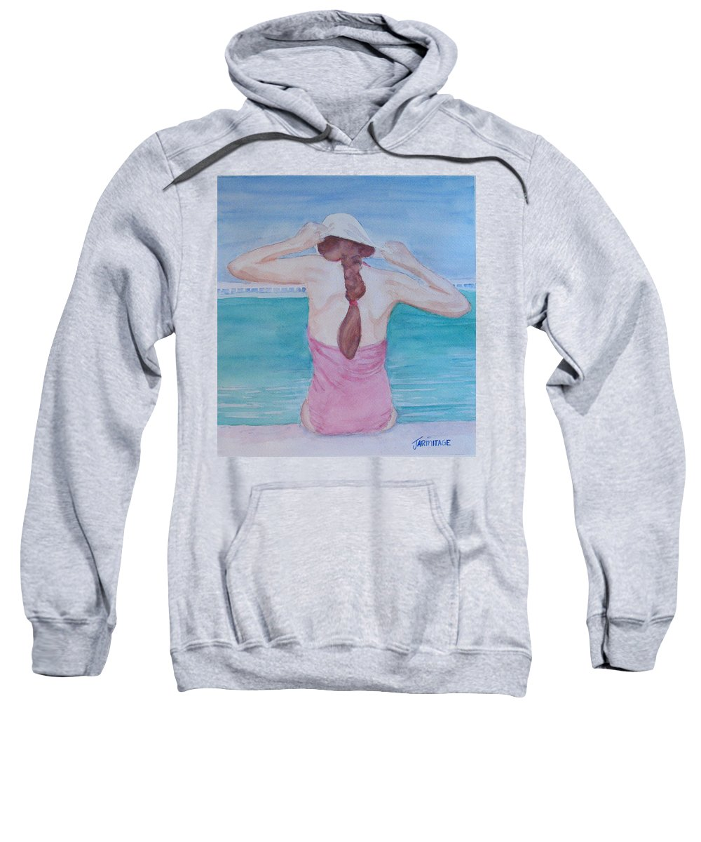 Girl Sweatshirt featuring the painting The Swim Cap by Jenny Armitage