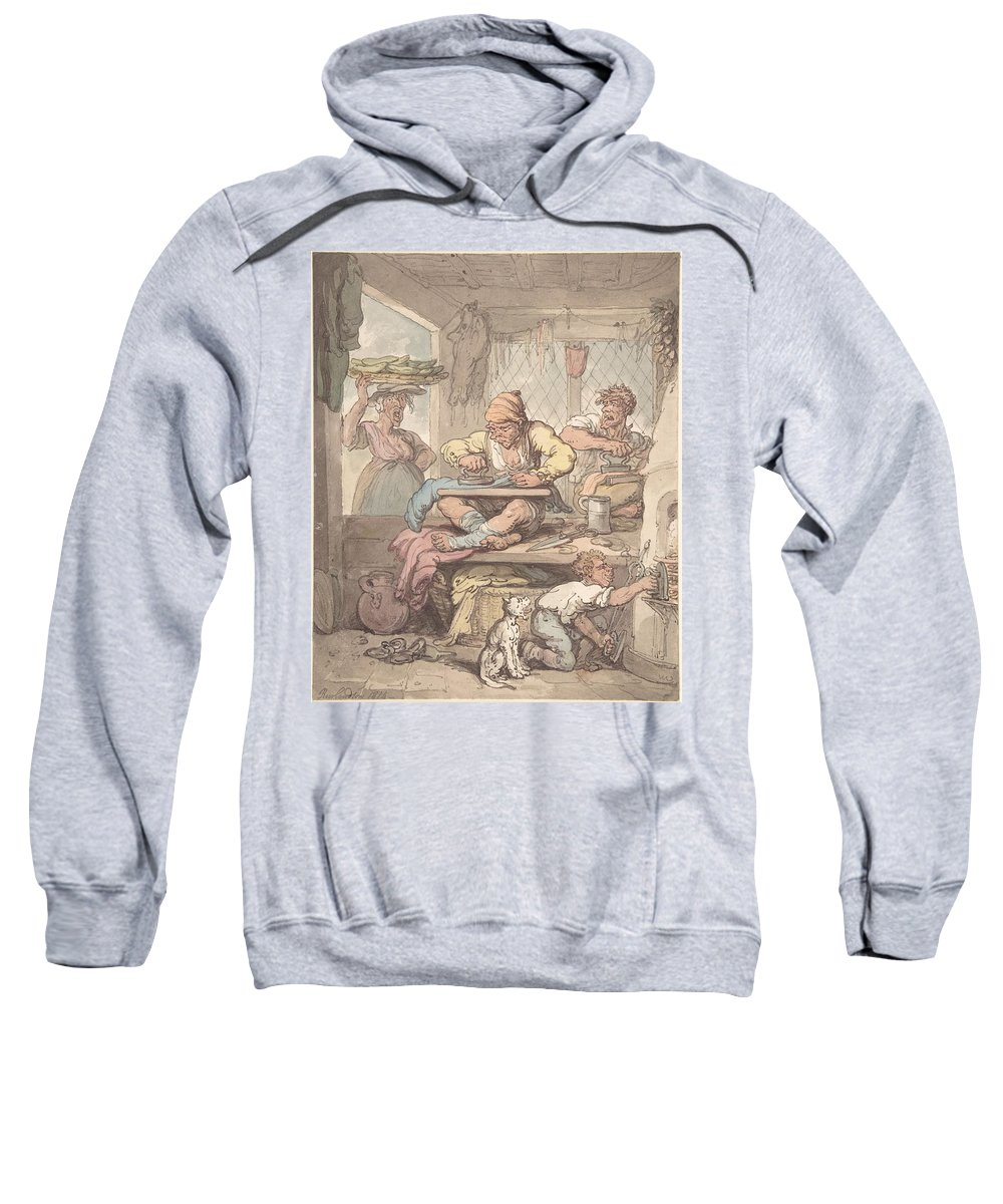 The Tailor 1814 By After Thomas Rowlandson Sweatshirt featuring the painting The Tailor by MotionAge Designs