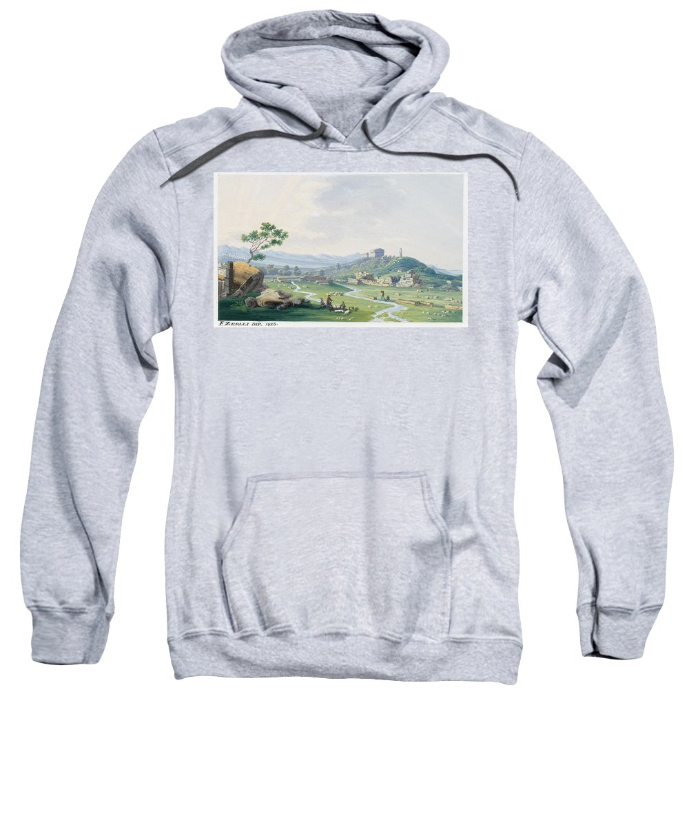 Zerilli Sweatshirt featuring the painting The Temples Of Agrigento by MotionAge Designs