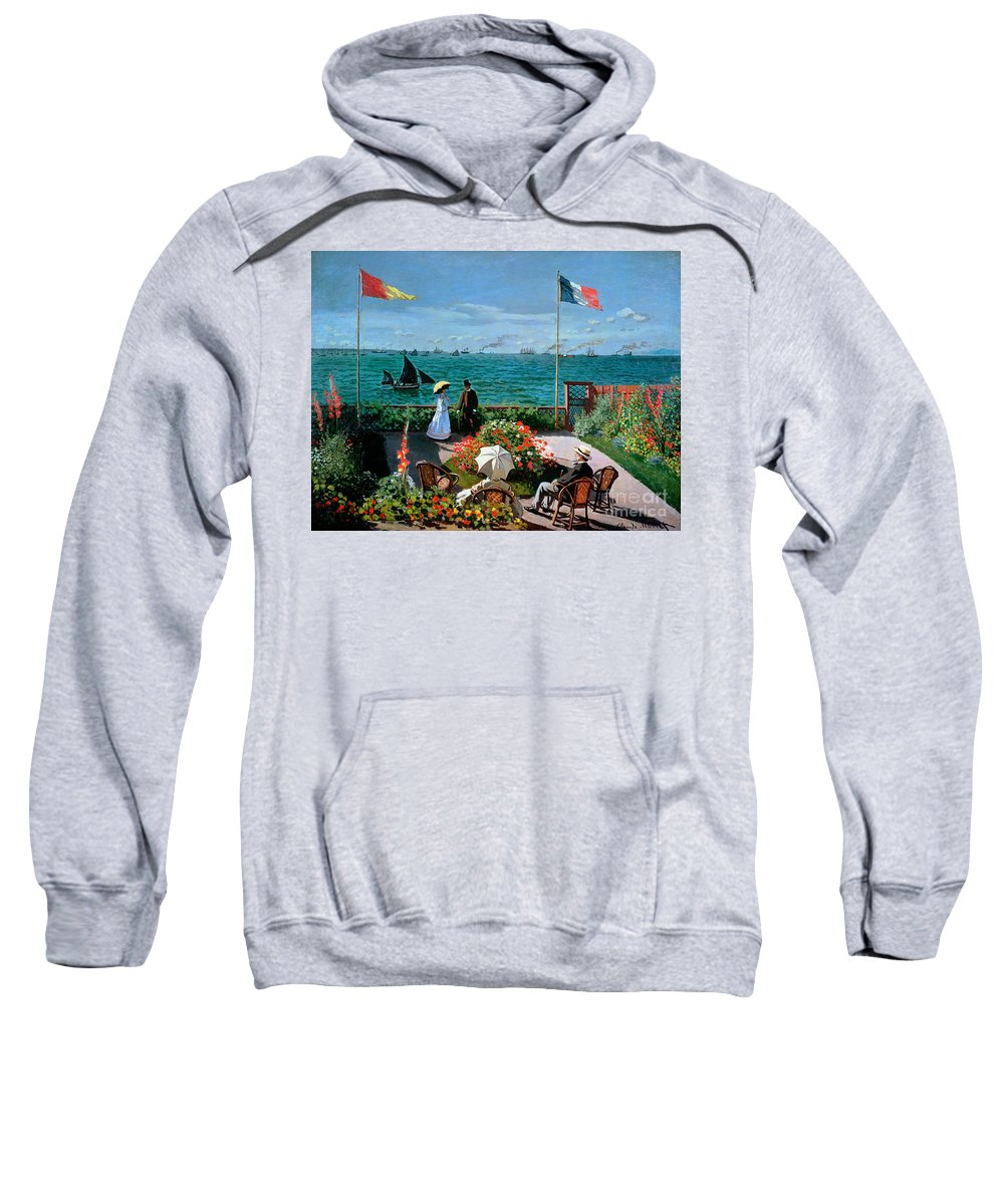 Claude Monet Sweatshirt featuring the painting The Terrace At Sainte Adresse by Claude Monet
