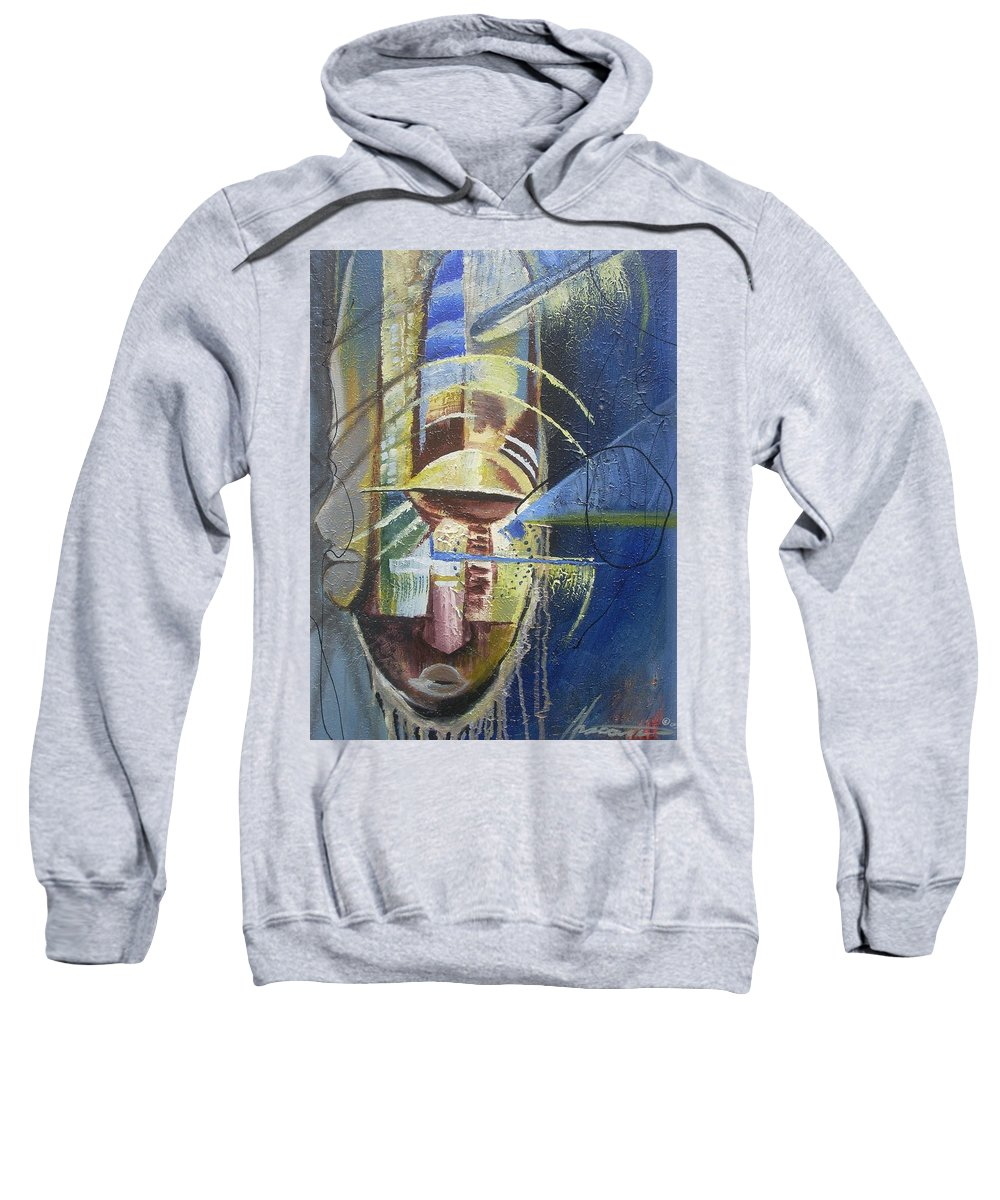 African American Sweatshirt featuring the painting The Third Eye by Hasaan Kirkland