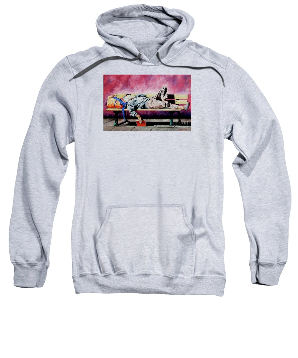 Figurative Sweatshirt featuring the painting The Traveler 1 - El Viajero 1 by Rezzan Erguvan-Onal