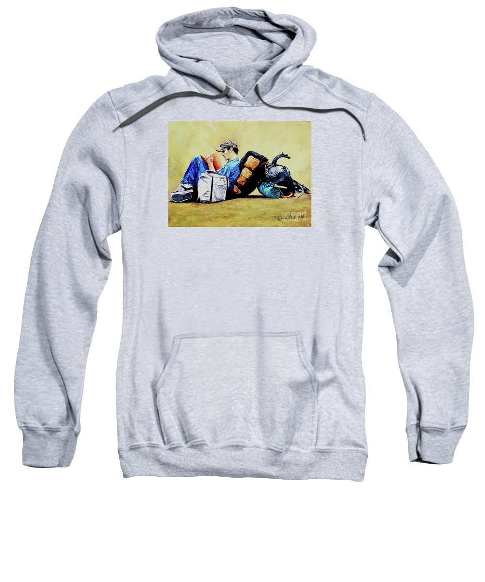 Travel Sweatshirt featuring the painting The Traveler 2 - El Viajero 2 by Rezzan Erguvan-Onal