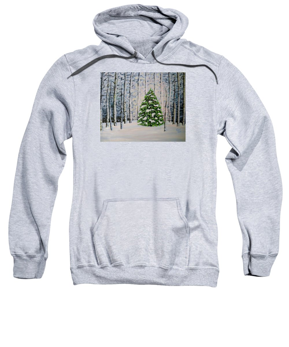 Winter Sweatshirt featuring the painting The Tree by Cami Lee