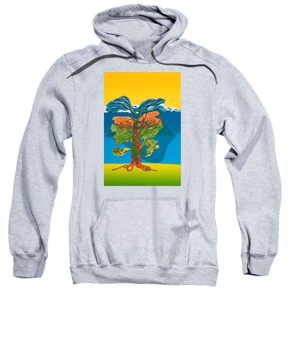 Landscape Sweatshirt featuring the mixed media The Tree Of Life. From The Viking Saga. by Jarle Rosseland
