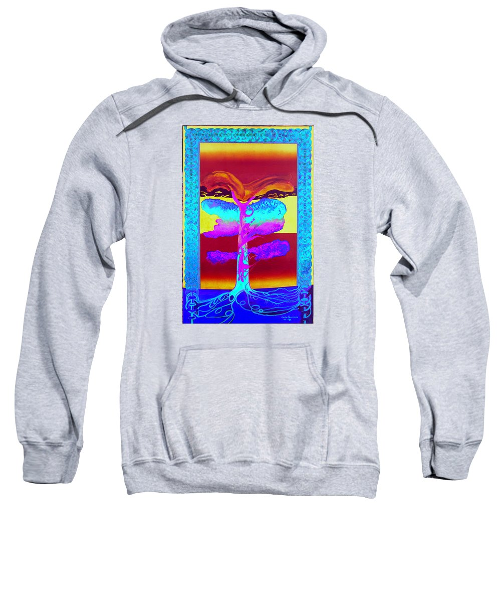 Myth/landscape Sweatshirt featuring the painting The Tree Of Life. Norse Mythology. by Jarle Rosseland