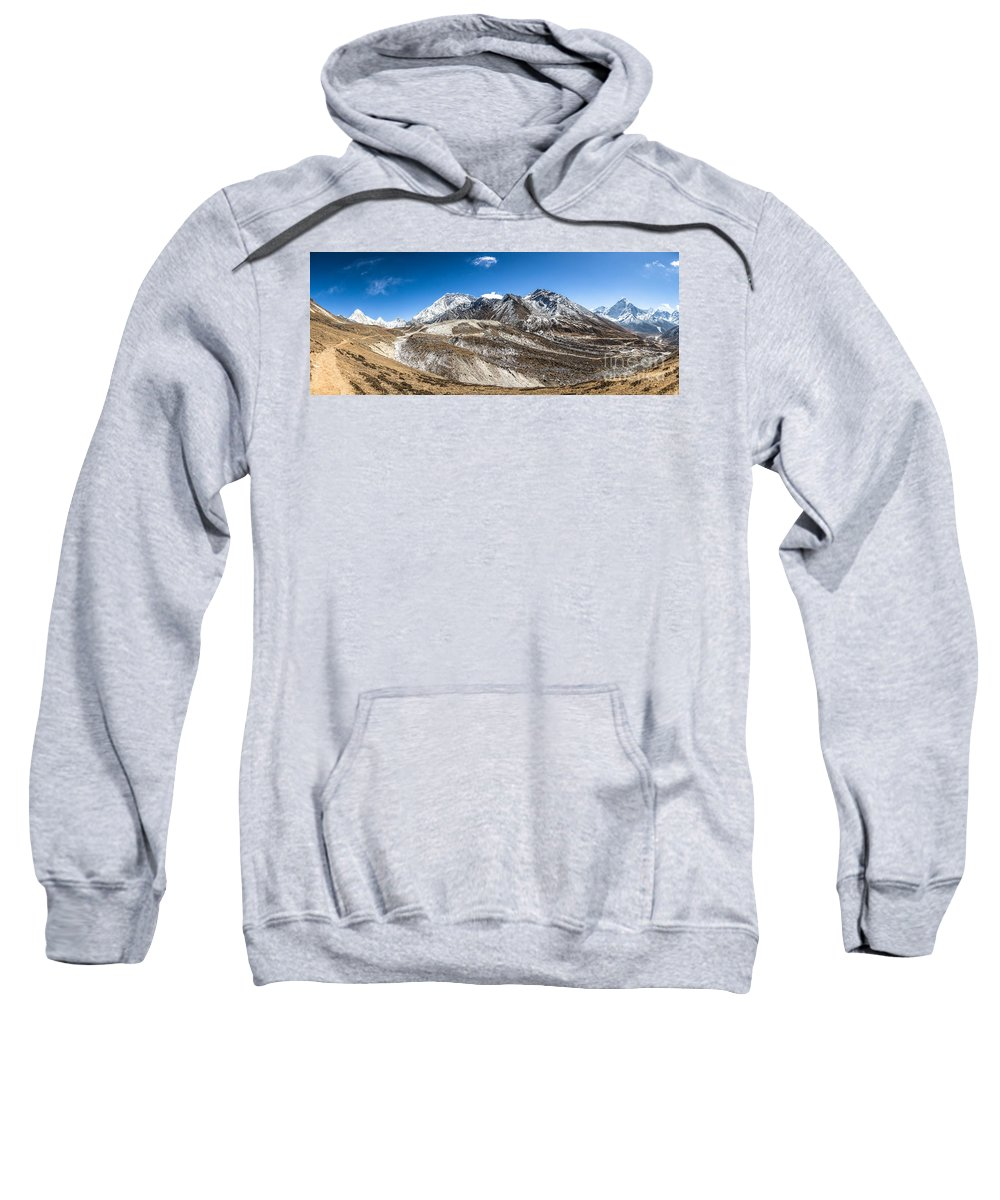 Ama Dablam Sweatshirt featuring the photograph The Valley Leading To Mt Everest In Nepal by Didier Marti