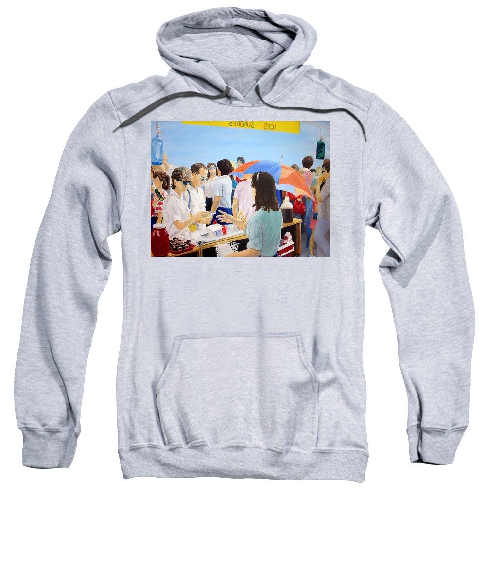 People Sweatshirt featuring the painting The Vendor by Steve Karol