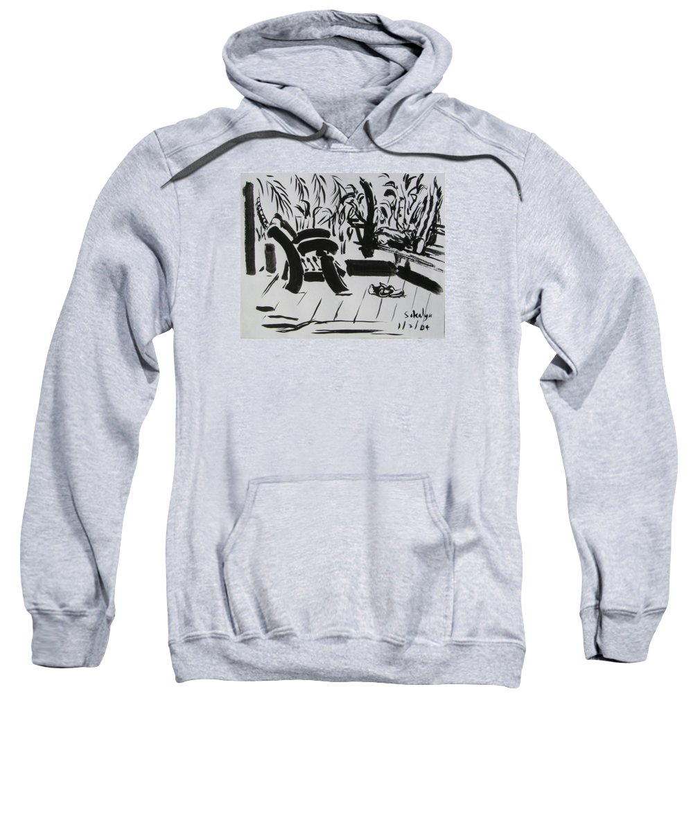 Chinese Sweatshirt featuring the drawing The Veranda by Sukalya Chearanantana