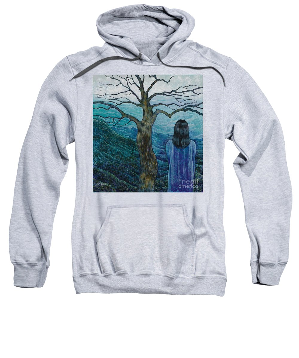 Mountain Sweatshirt featuring the painting The View by Debbie Arnold