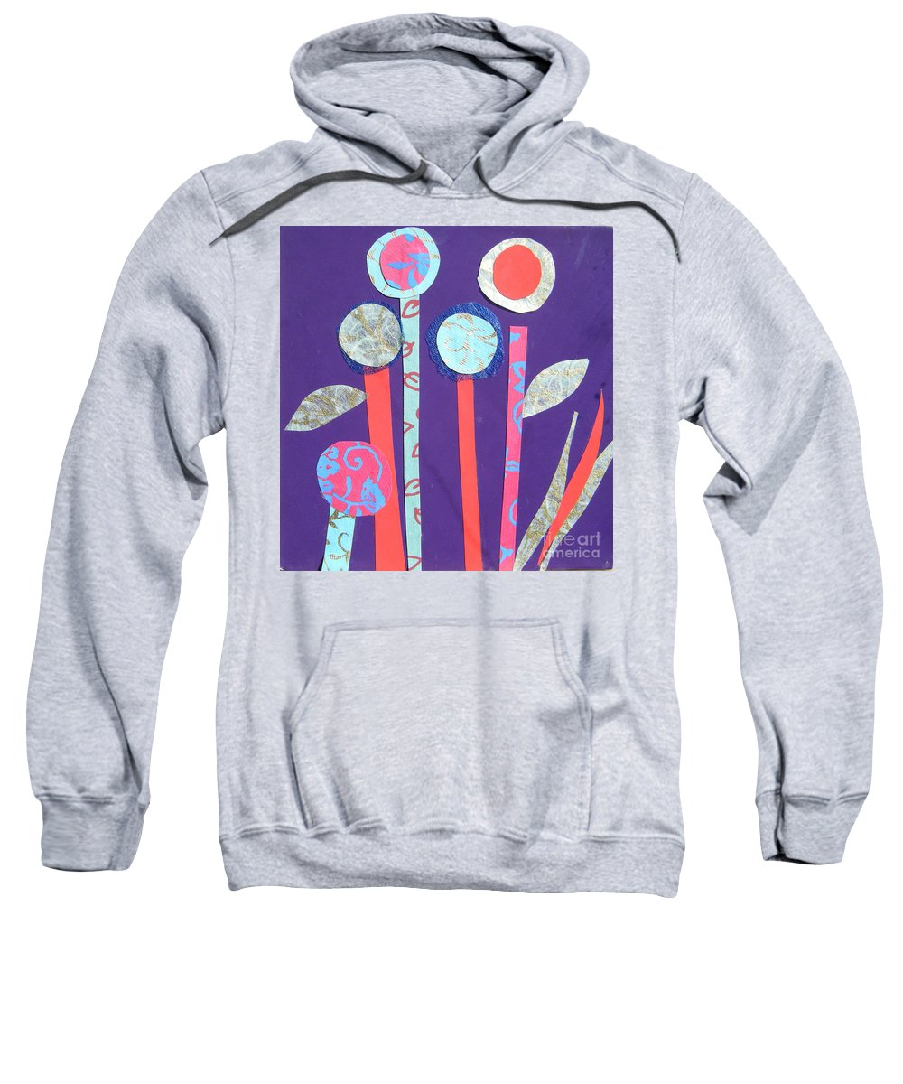 Flowers Sweatshirt featuring the mixed media The Violet Hour by Debra Bretton Robinson
