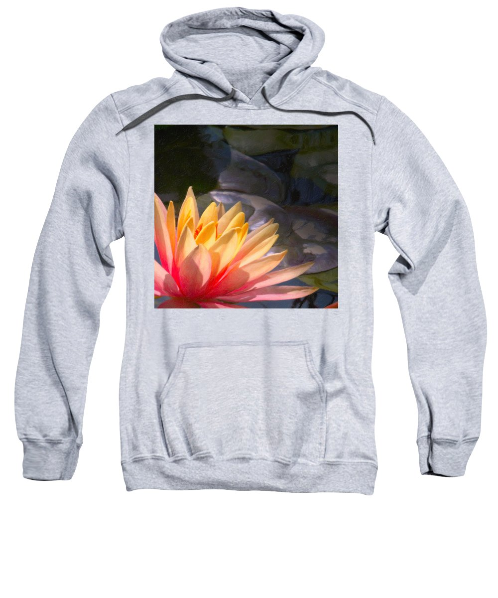 Water Lily Sweatshirt featuring the digital art The Water Lily by Martin Fry