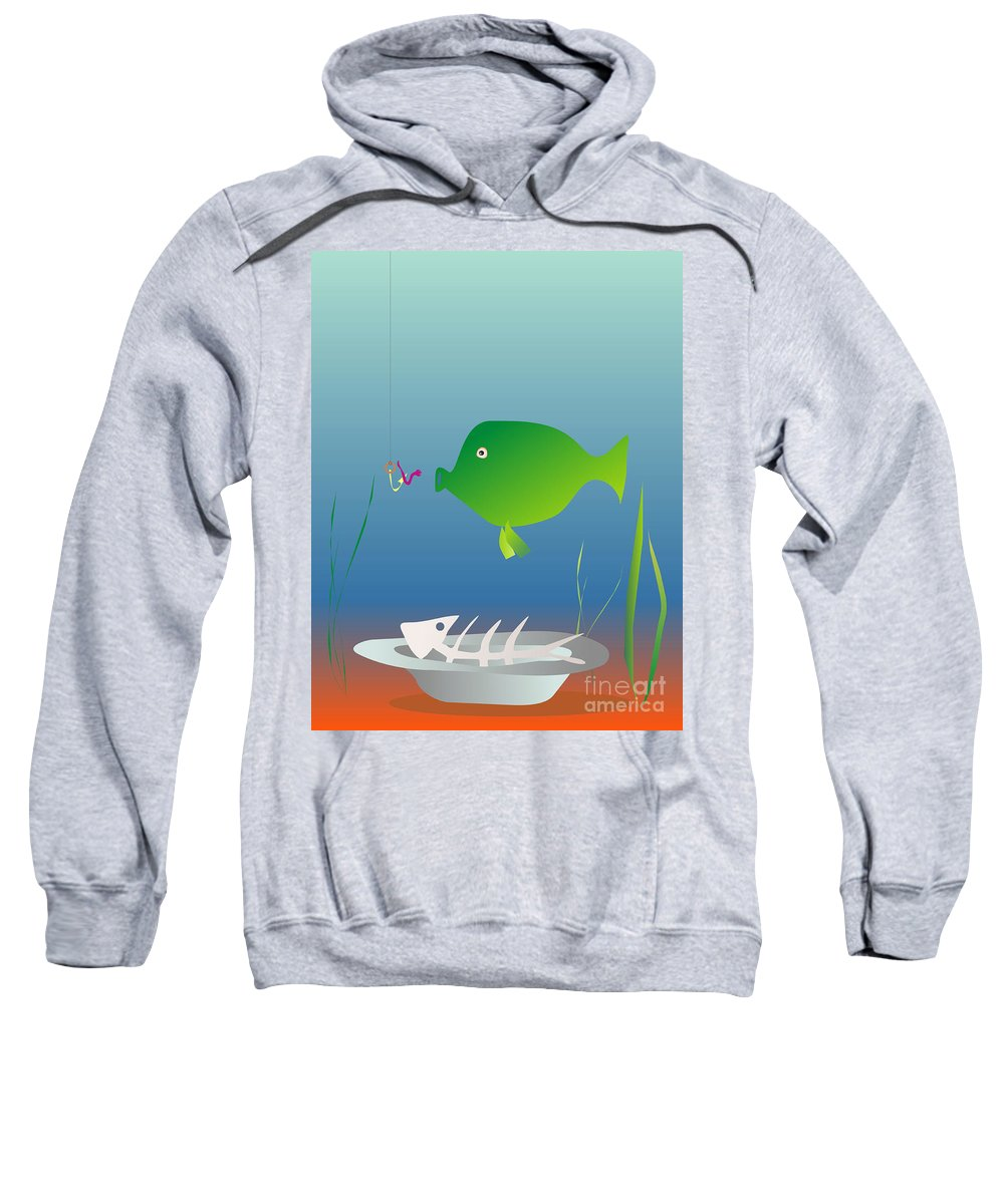 Fish Sweatshirt featuring the digital art The Well-fed Do Not Understand The Hungry by Michal Boubin