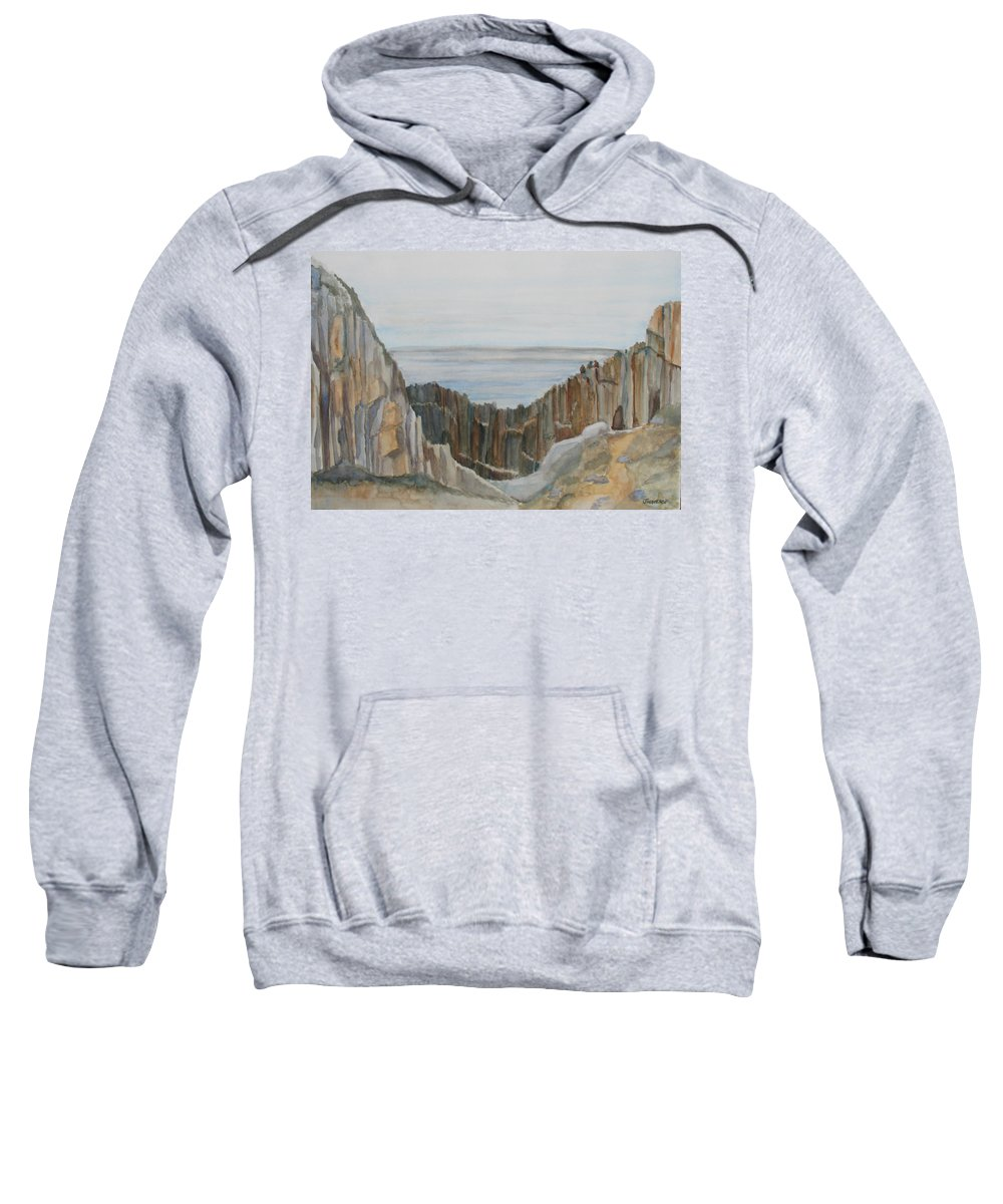 Ocean Sweatshirt featuring the painting The Whale Watchers At Elephant Rock by Jenny Armitage