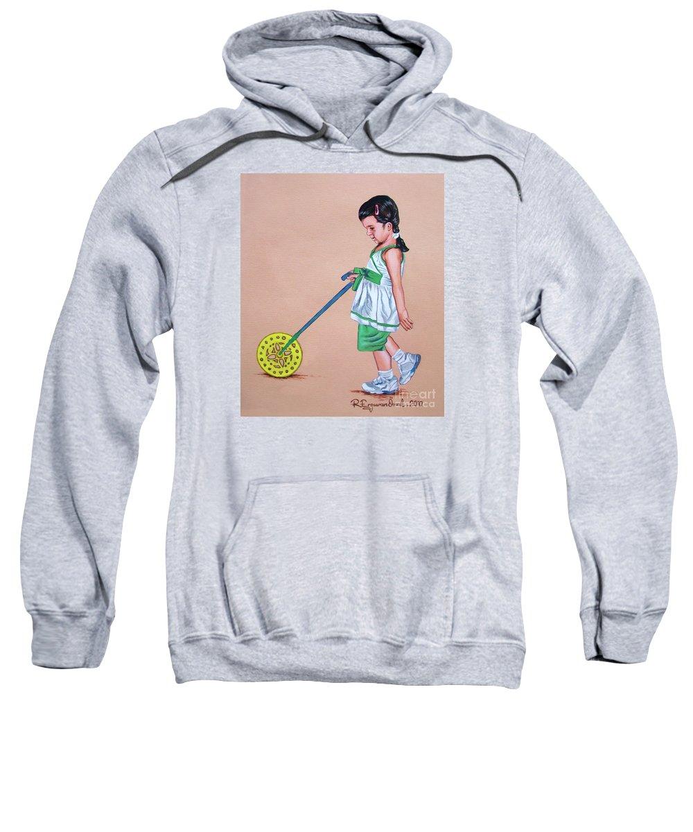 Child Sweatshirt featuring the painting The Wheel - La Rueda by Rezzan Erguvan-Onal