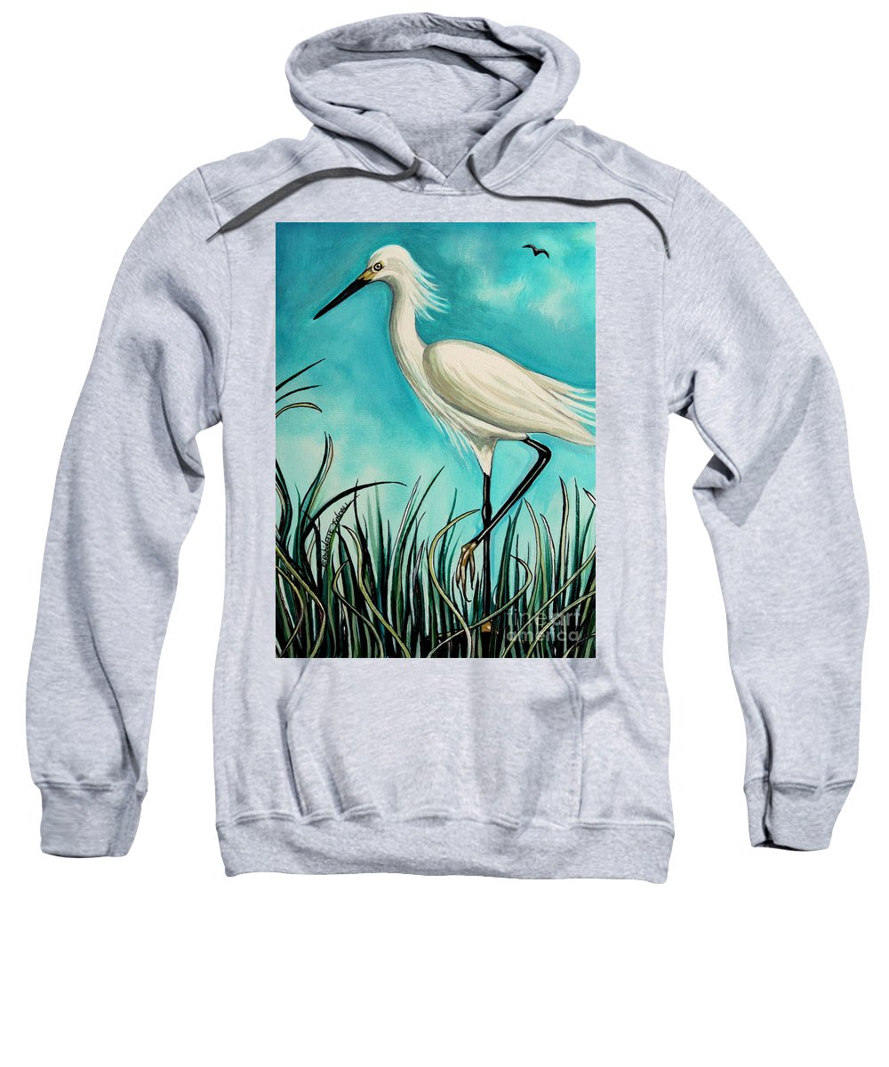 Bird Sweatshirt featuring the painting The White Egret by Elizabeth Robinette Tyndall