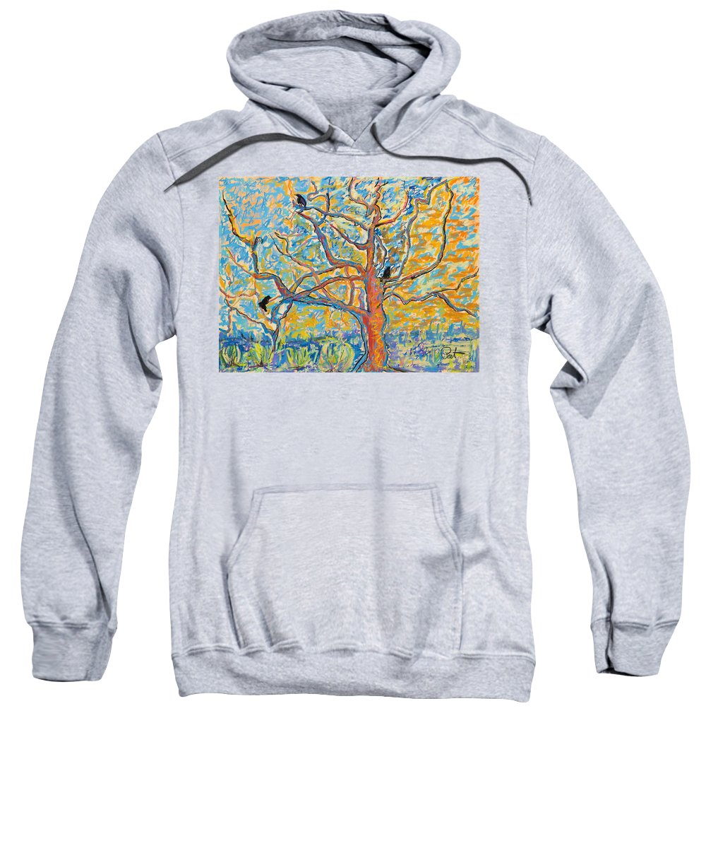 Abstract Painting Sweatshirt featuring the mixed media The Wind Dancers by Pat Saunders-White