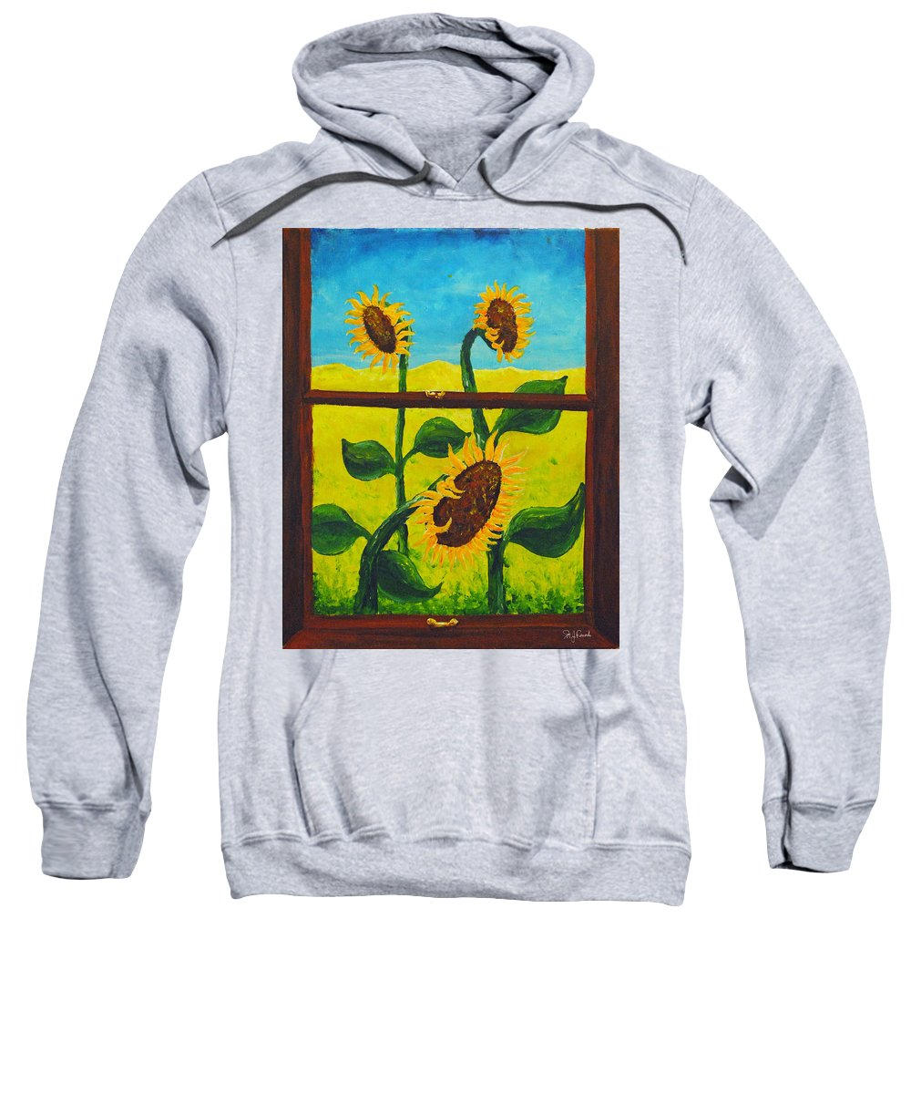 Nude Beach Sweatshirt featuring the painting The Window by Michael Fencik