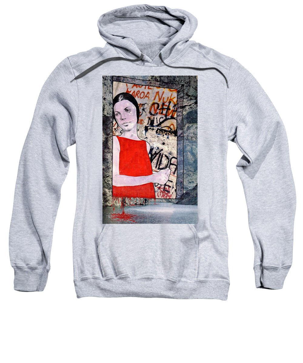 Woman Window Wall Water Blood Life Sweatshirt featuring the mixed media The Window by Veronica Jackson
