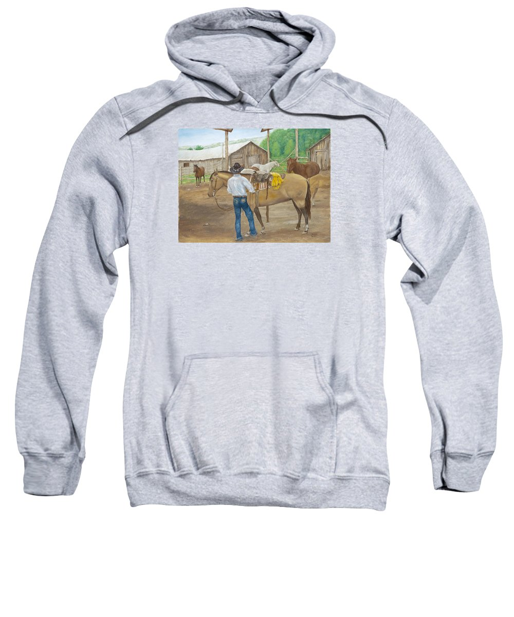 Animals Sweatshirt featuring the painting The Wrangler by Sharon Karlson