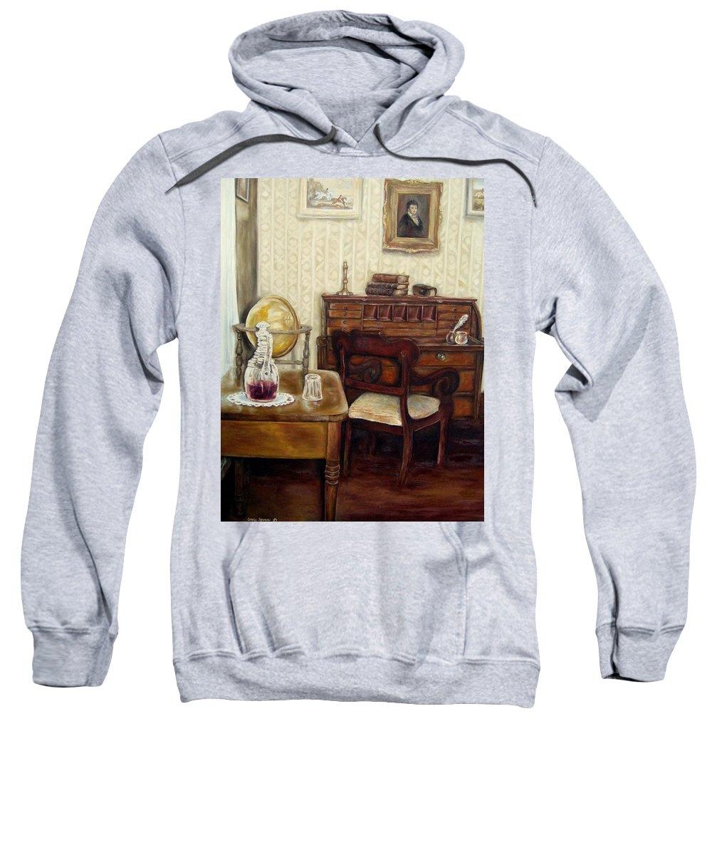Writings Sweatshirt featuring the painting The Writing Room by Carole Spandau