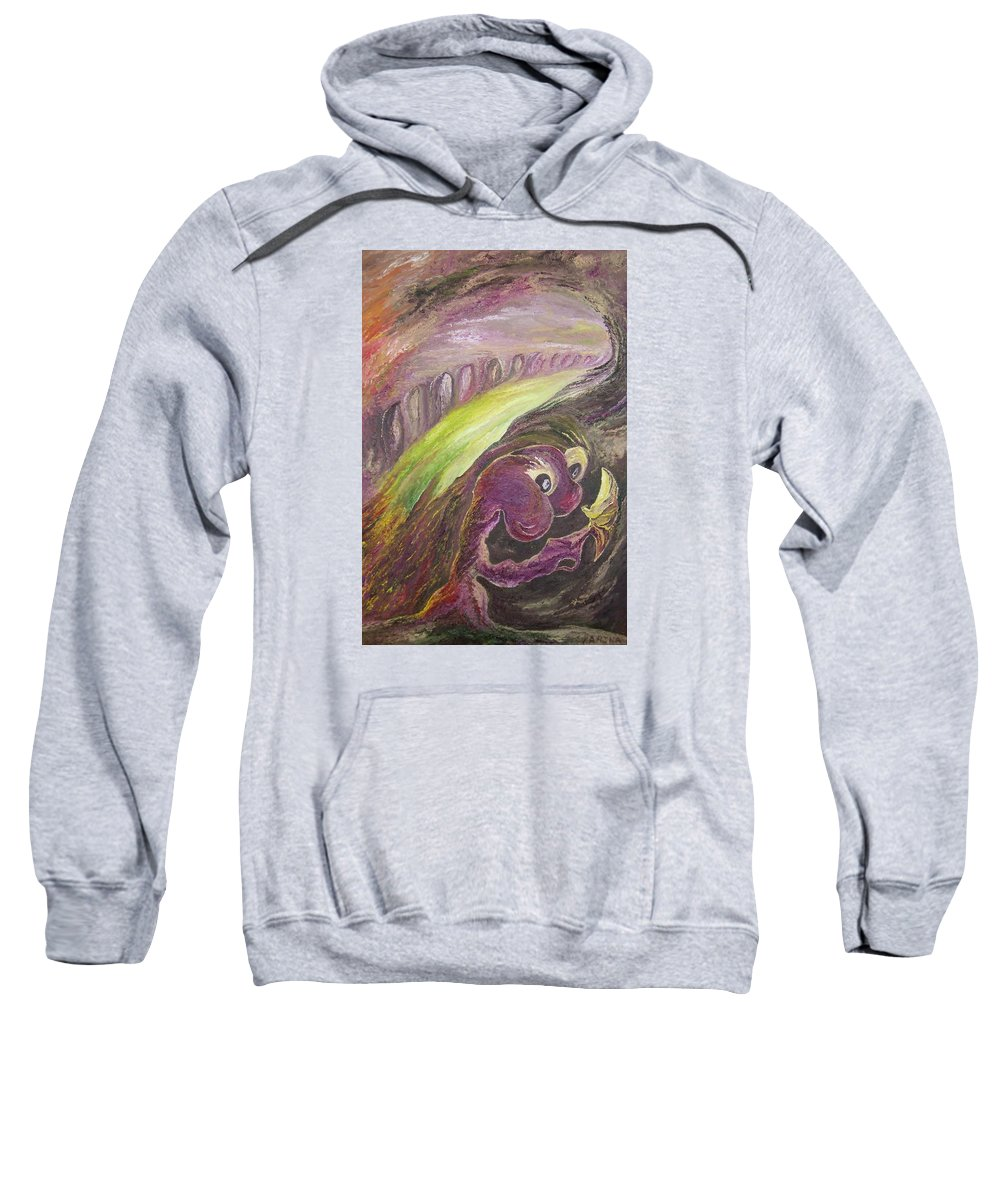 The Yellow Butterfly Visits The Hermit Of The Purple Planet Sweatshirt featuring the painting The Yellow Butterfly Visits The Hermit Of The Purple Planet by Karina Ishkhanova