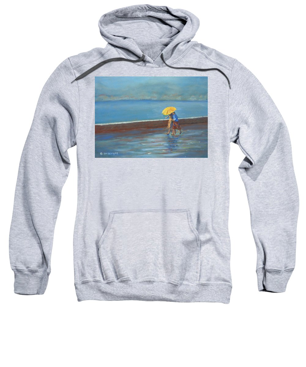 Rain Sweatshirt featuring the painting The Yellow Umbrella by Jerry McElroy