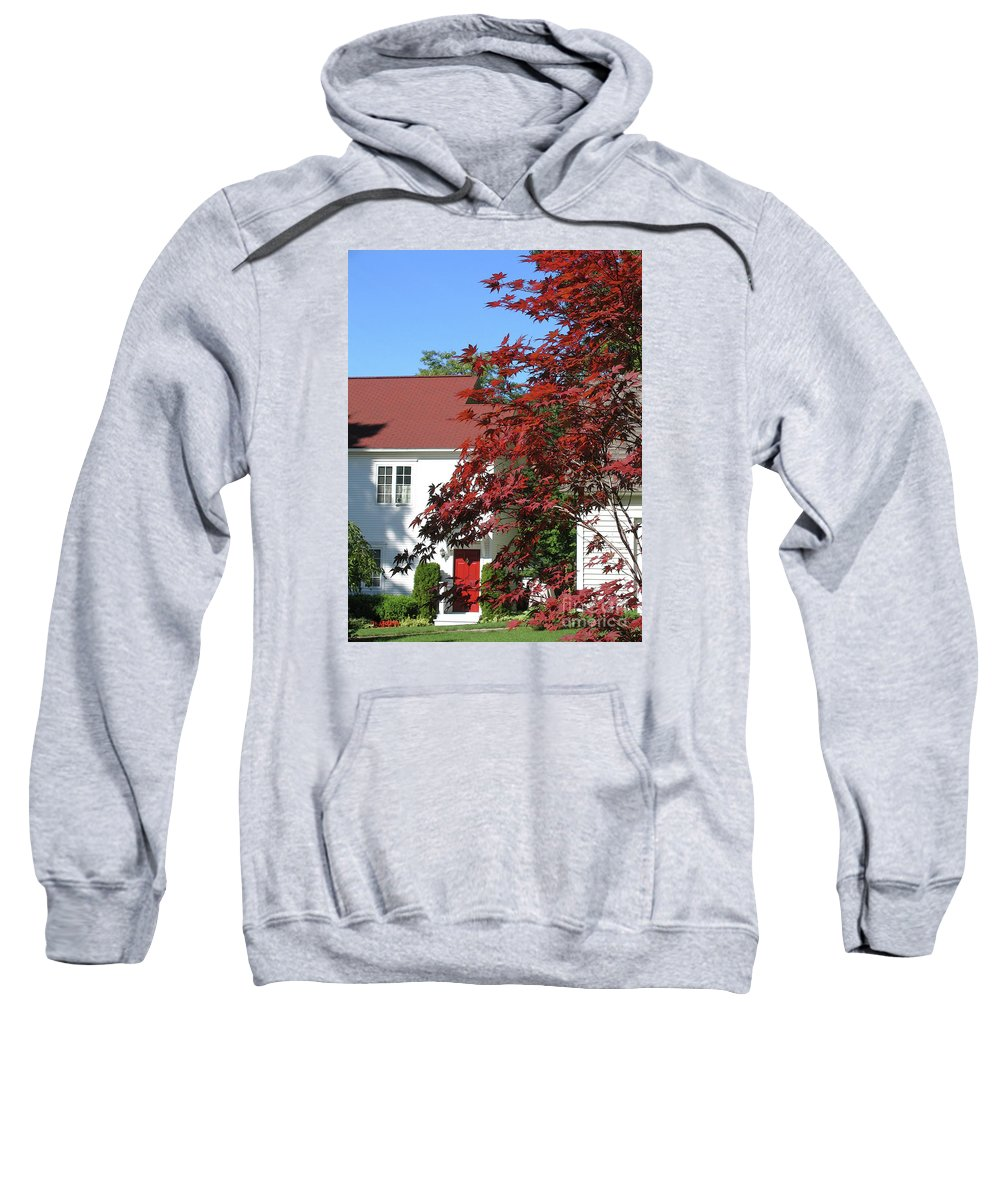 Red Sweatshirt featuring the photograph They Like Red by Ann Horn