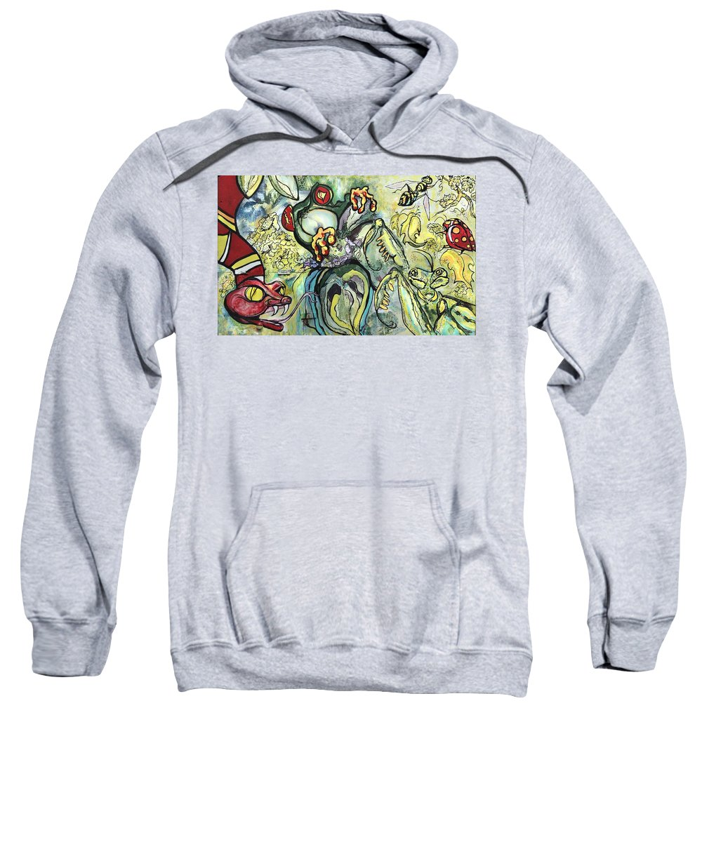 Abstract Sweatshirt featuring the painting Things Remembered by Greta Redzko