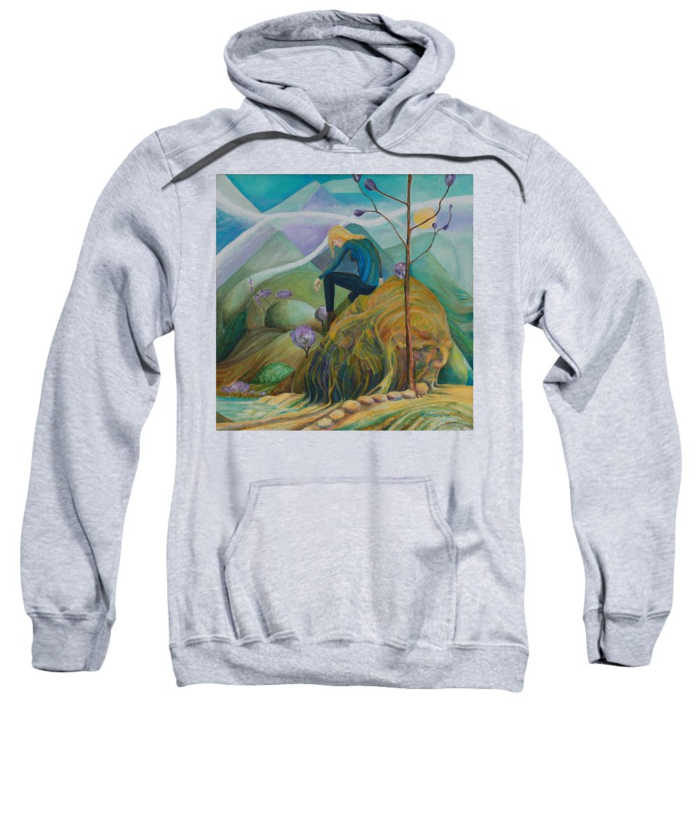 Mark Fine Art Sweatshirt featuring the drawing Thinking Place by Mark Johnson