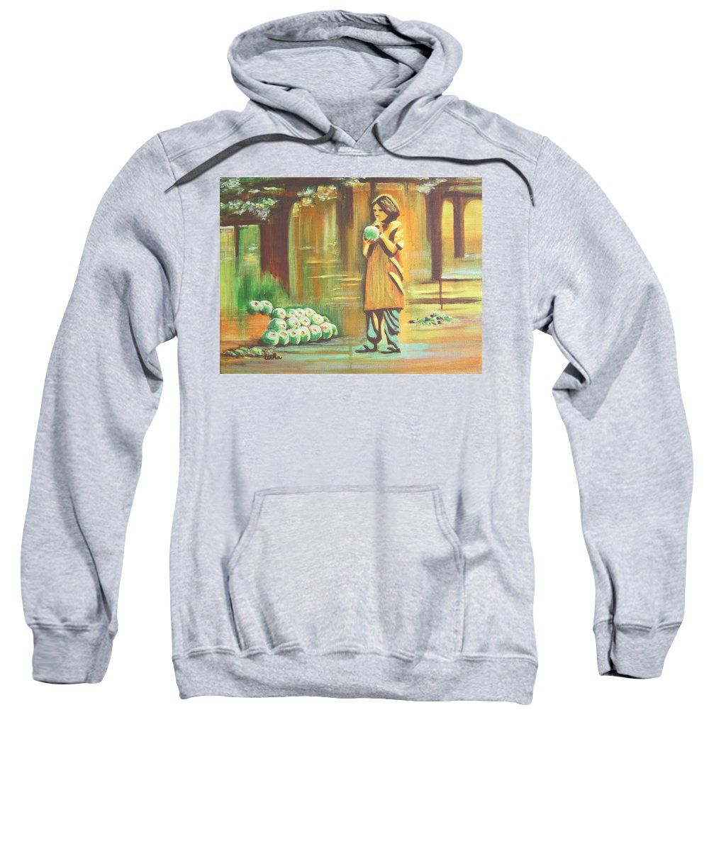 Thirst Sweatshirt featuring the painting Thirst Quenched by Usha Shantharam