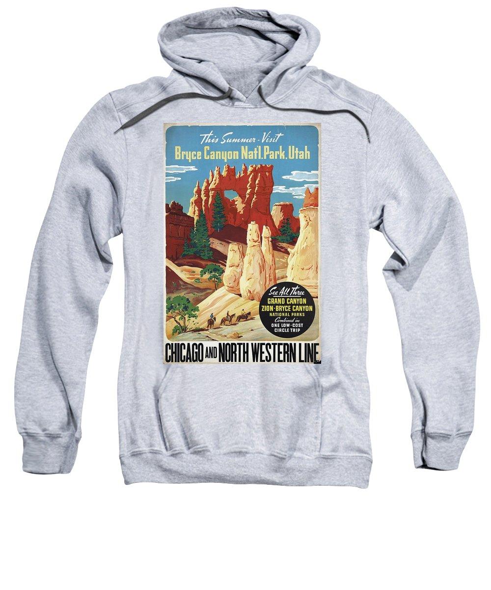 Bryce Canyon Sweatshirt featuring the mixed media This Summer - Visit Bryce Canyon National Par, Utah, Usa - Retro Travel Poster - Vintage Poster by Studio Grafiikka