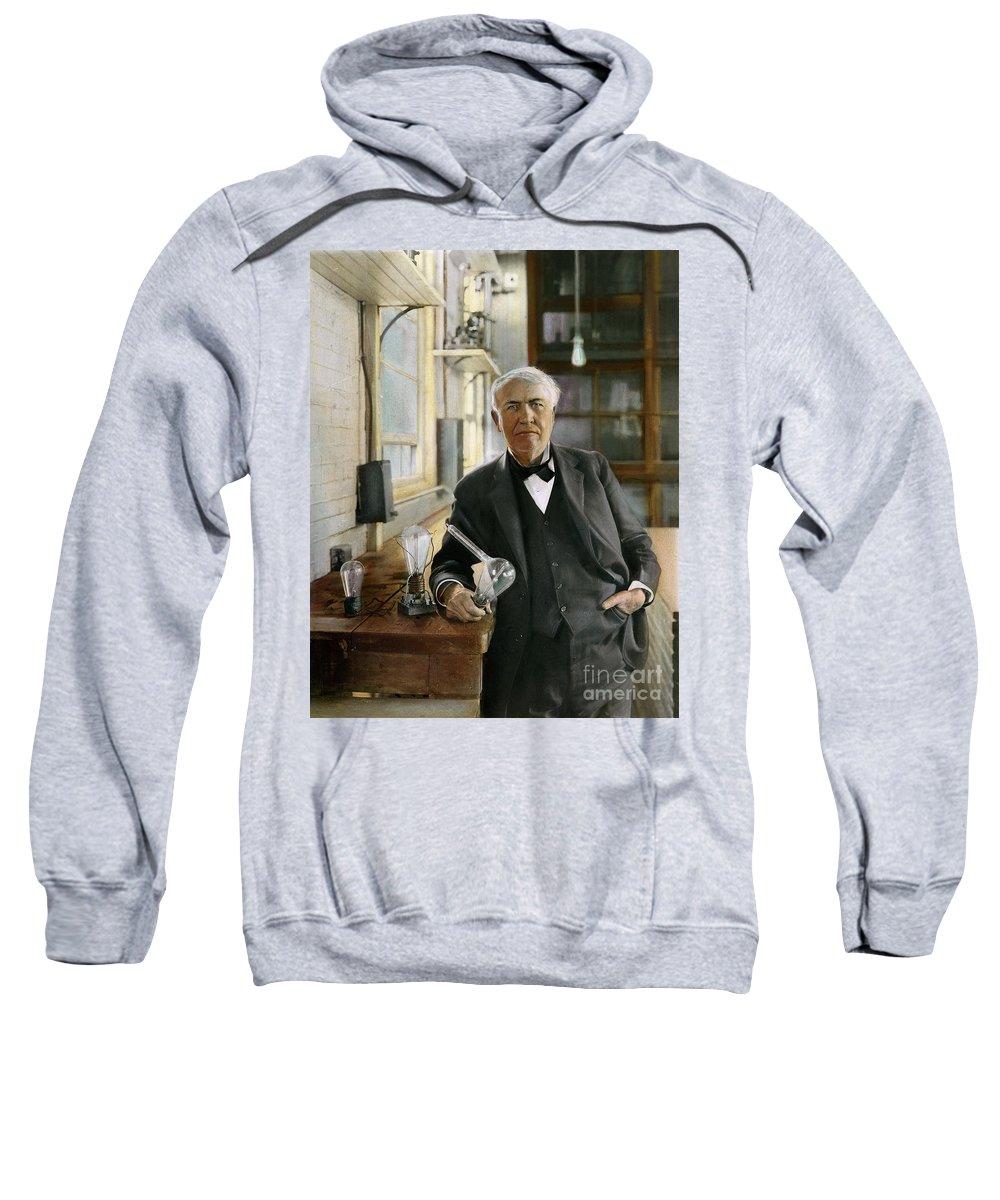 1915 Sweatshirt featuring the photograph Thomas Edison by Granger