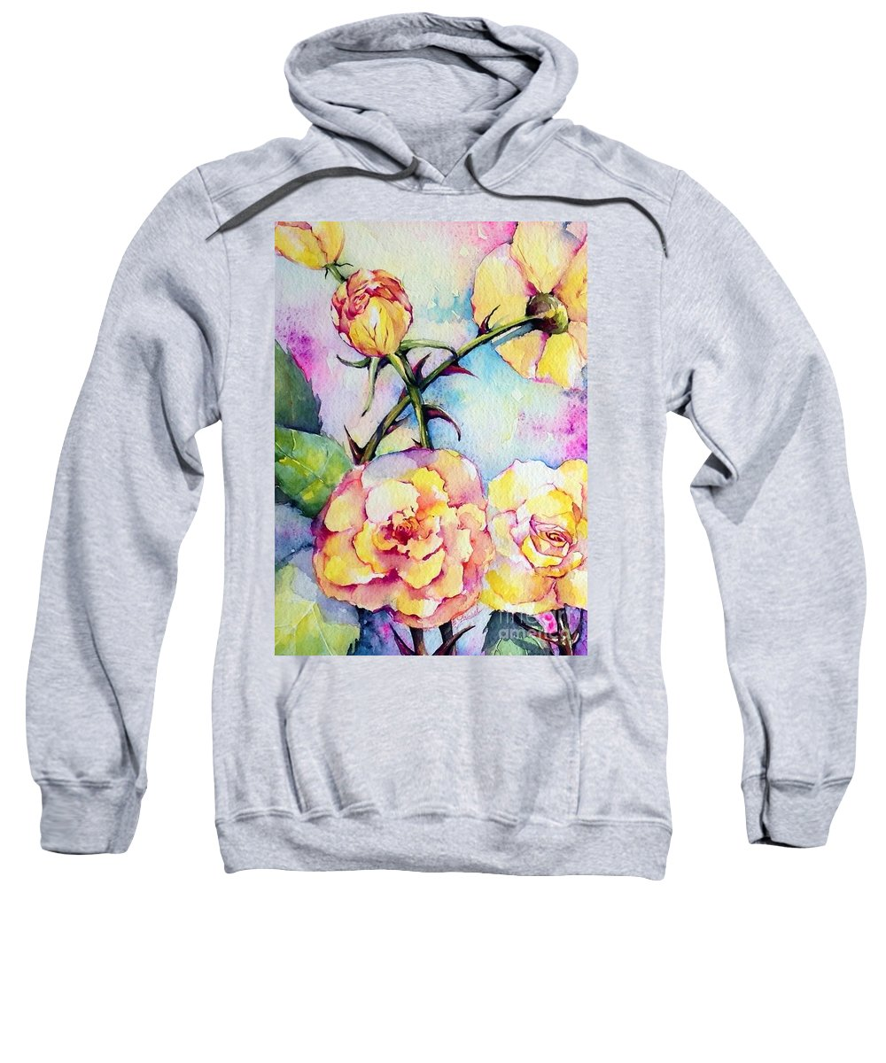 Florals Sweatshirt featuring the painting Thorns Have Roses by Laurel Adams