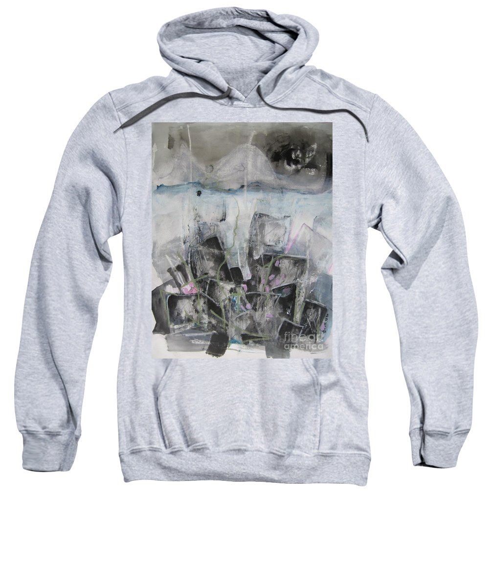Cemetery Sweatshirt featuring the painting Three Arms by Seon-Jeong Kim