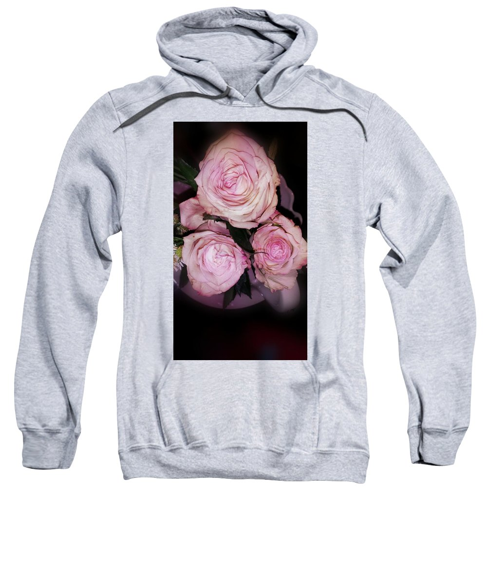 Pink Sweatshirt featuring the photograph Three Beautiful Roses by Therese Felter