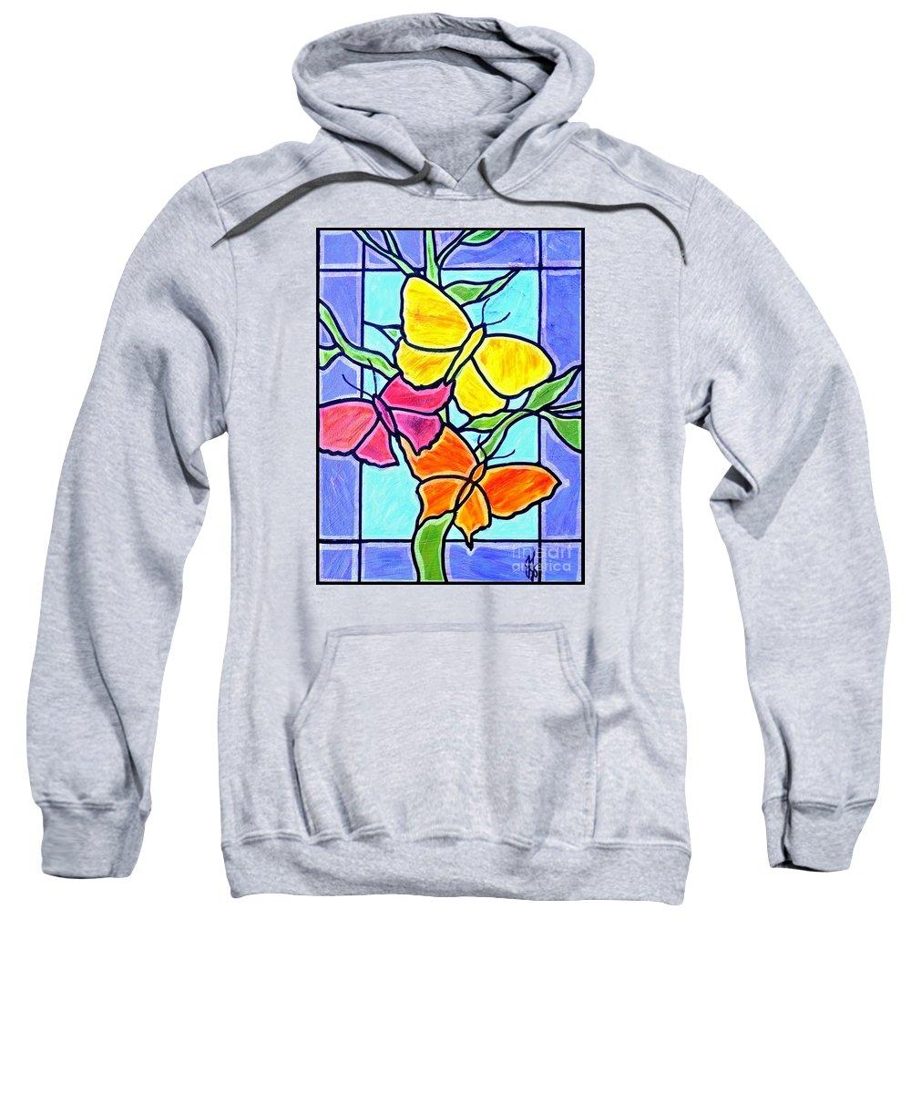 Butterflies Sweatshirt featuring the painting Three Butterflies by Jim Harris