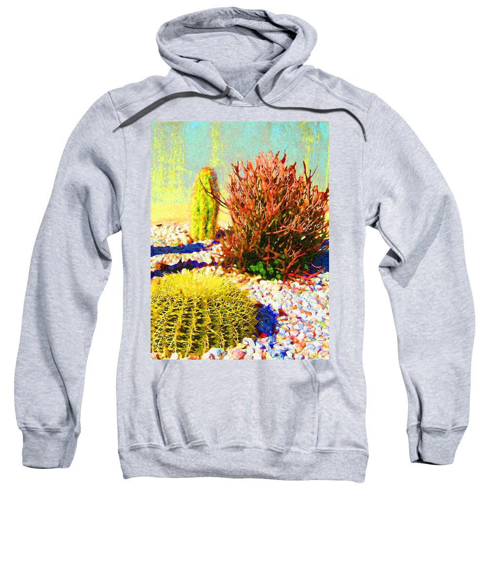 Landscape Sweatshirt featuring the painting Three Cacti by Amy Vangsgard