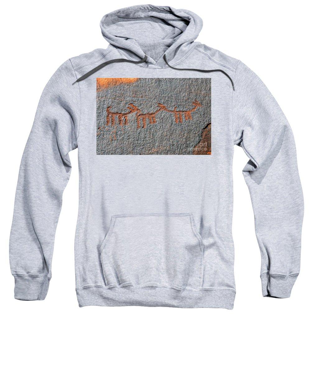 Petroglyphs Sweatshirt featuring the photograph Three Deer by David Lee Thompson