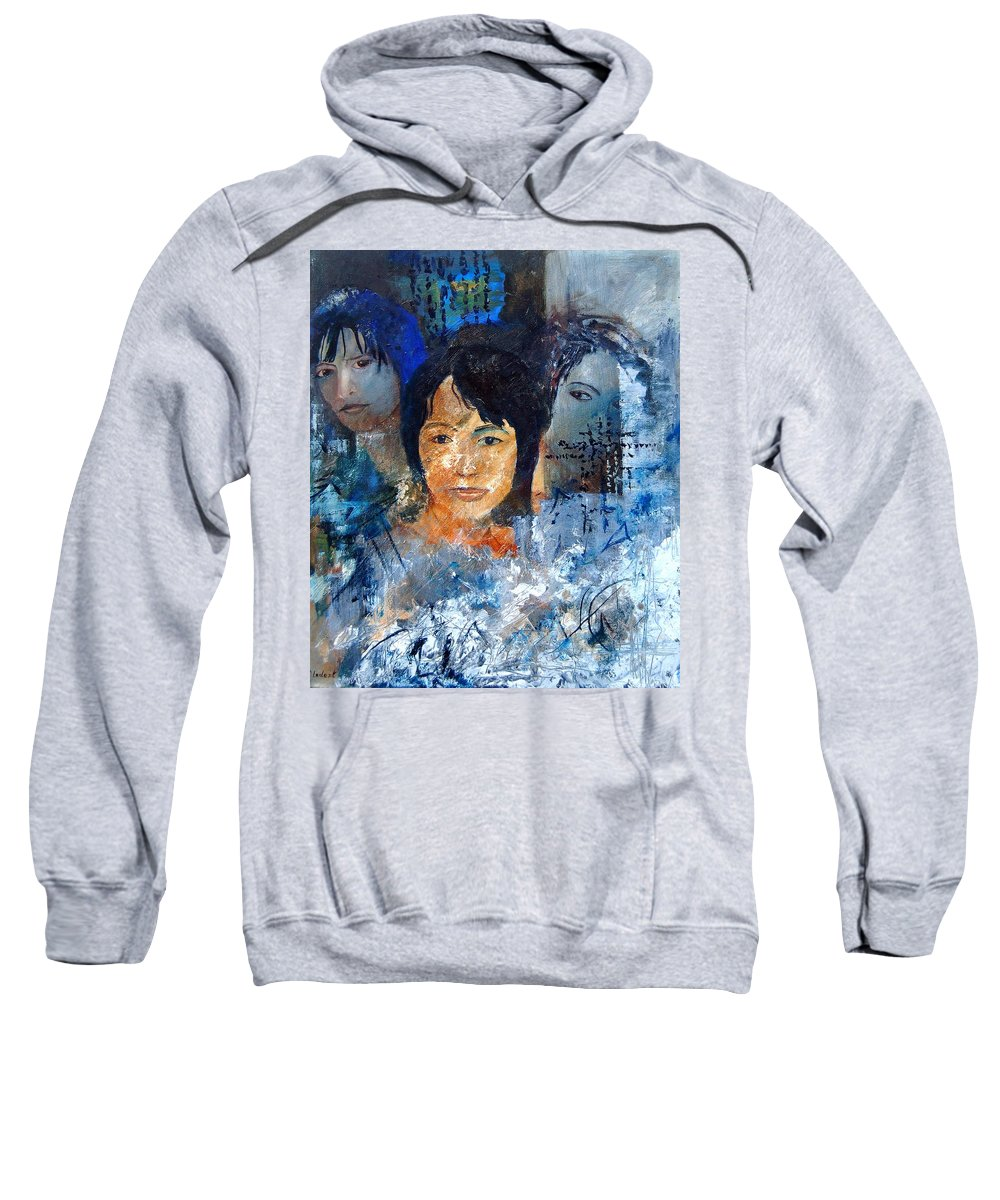 Girl Sweatshirt featuring the painting Three Faces by Pol Ledent