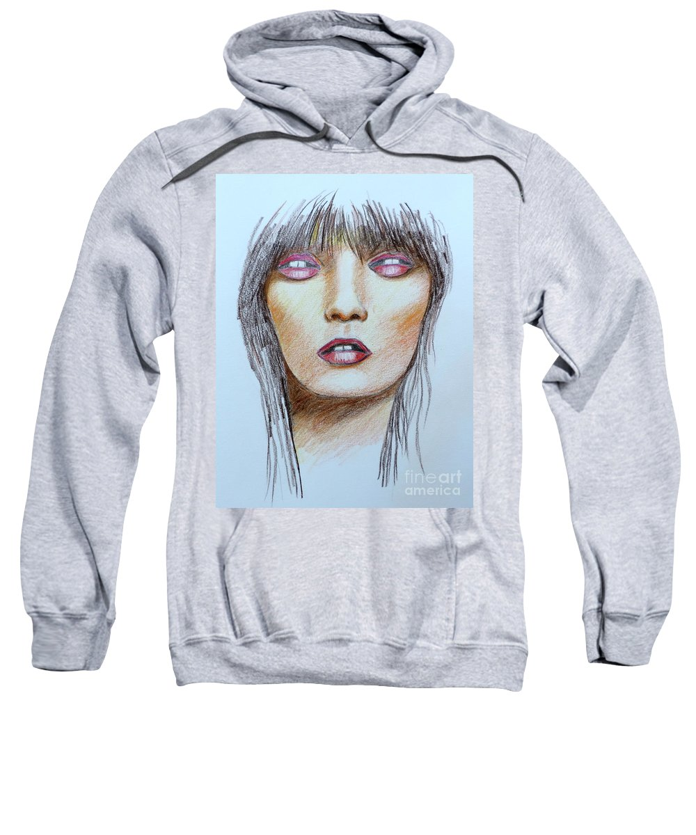 Stephen Sweatshirt featuring the drawing Three Kisses by Stephen Brooks