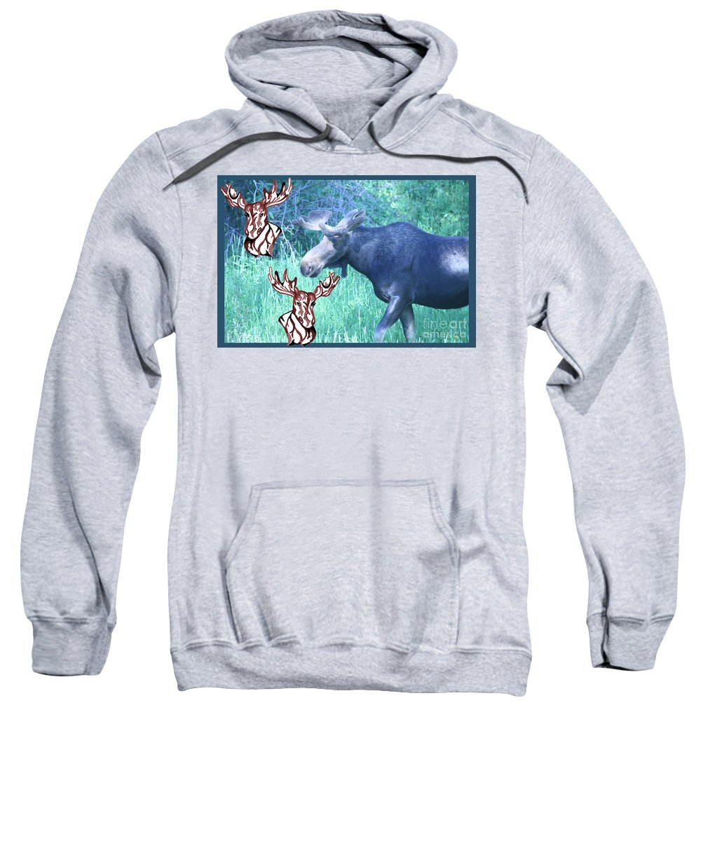 Nature Sweatshirt featuring the photograph Three Moose by Mary Mikawoz