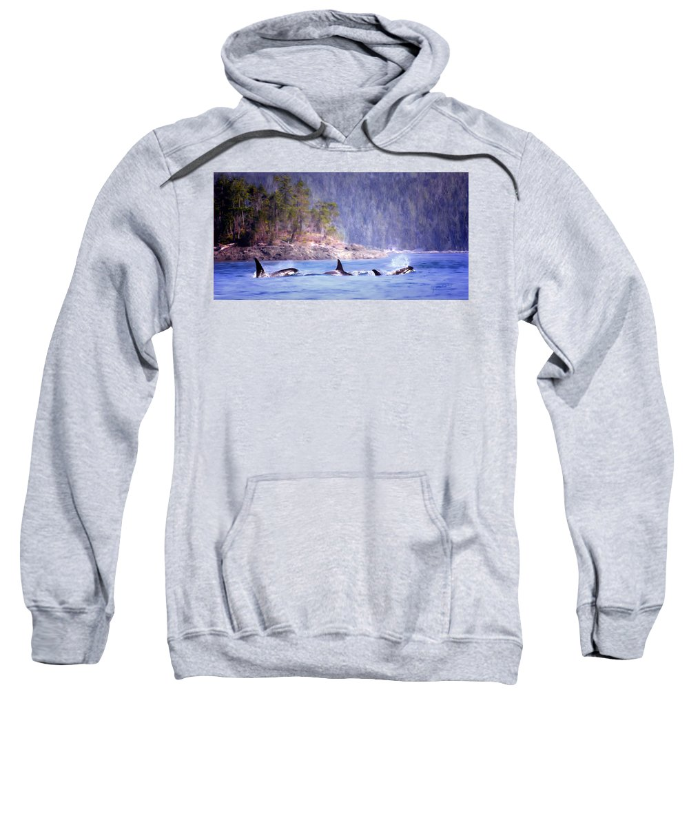 Whales Sweatshirt featuring the painting Three Orca Whales by Jeanette Mahoney