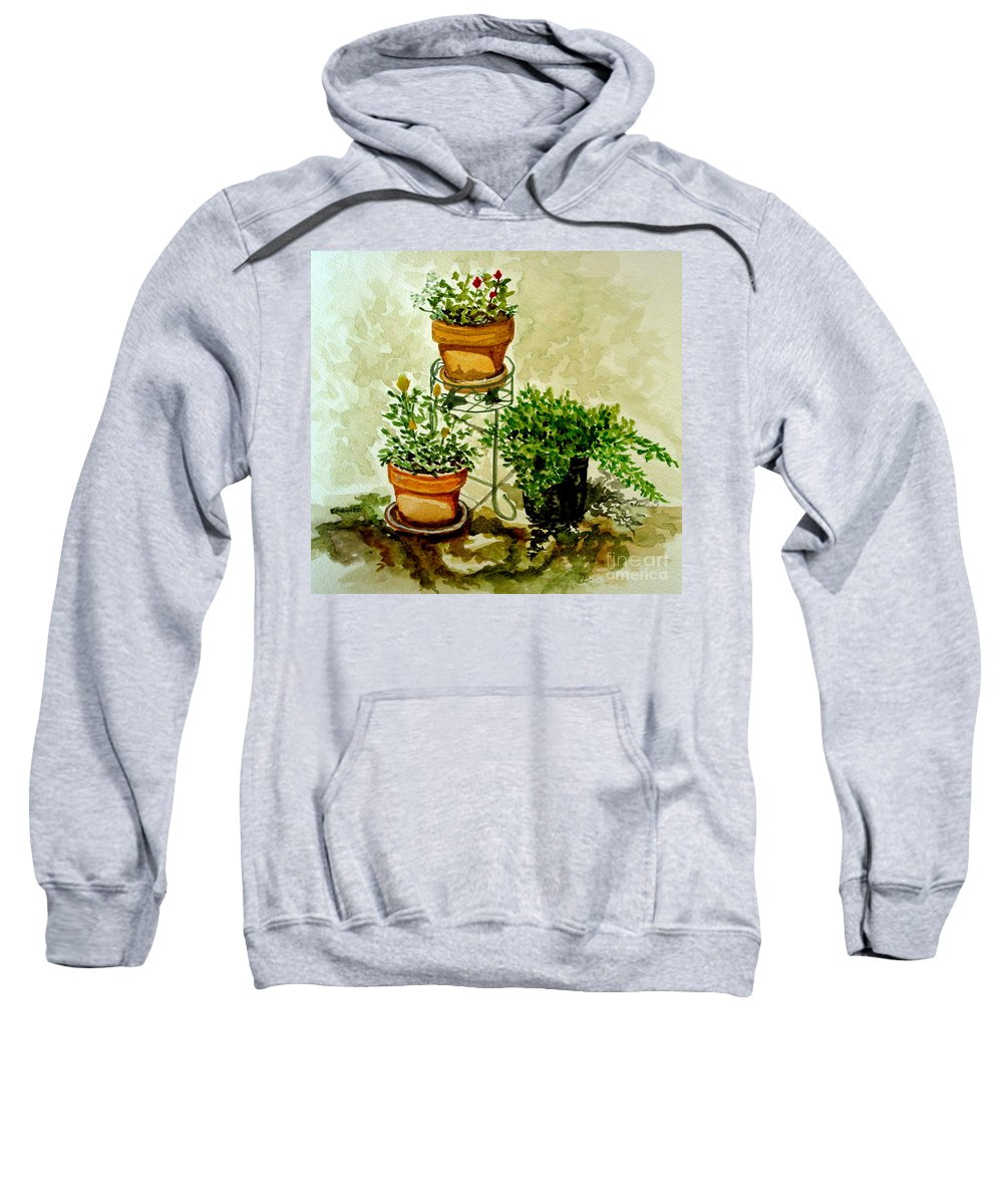 Plants Sweatshirt featuring the painting Three Potted Plants by Elizabeth Robinette Tyndall