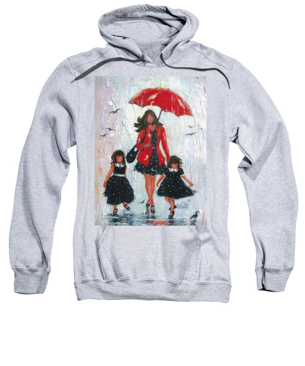 Mom Sweatshirt featuring the painting Three Rain Girls Red And Black by Vickie Wade