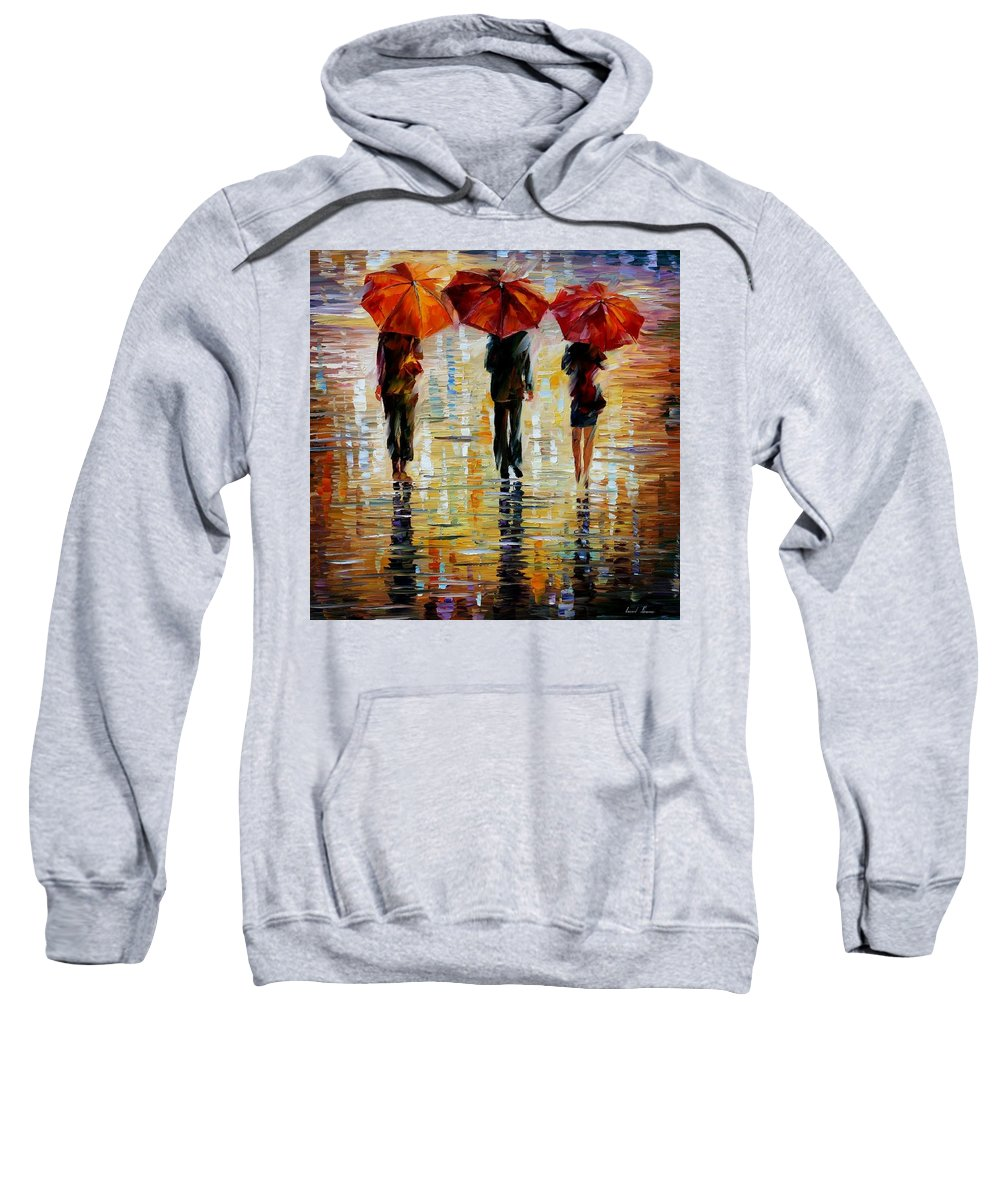 Cityscape Sweatshirt featuring the painting Three Red Umbrella by Leonid Afremov