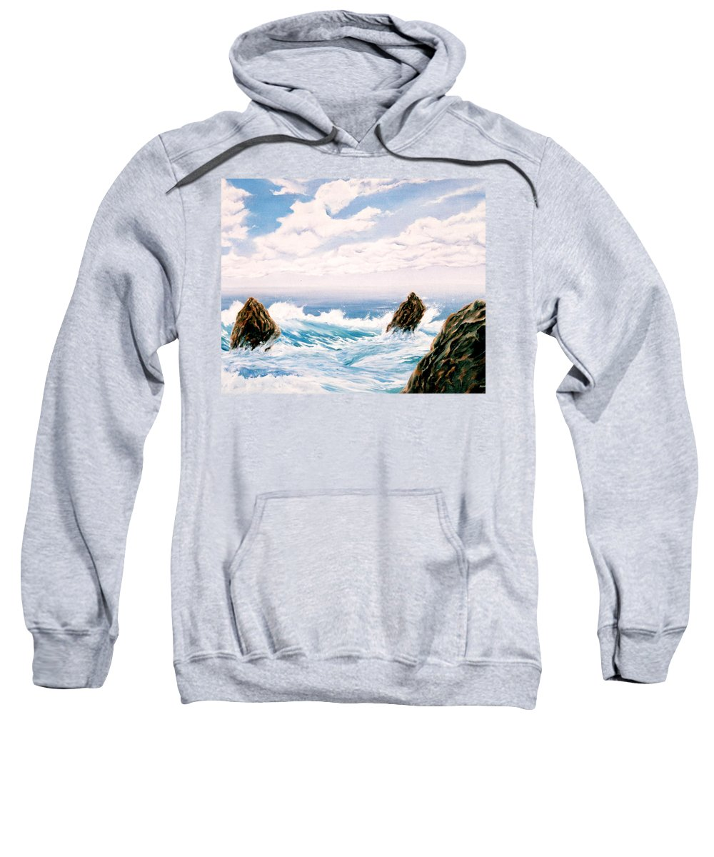Seascape Sweatshirt featuring the painting Three Rocks by Mark Cawood