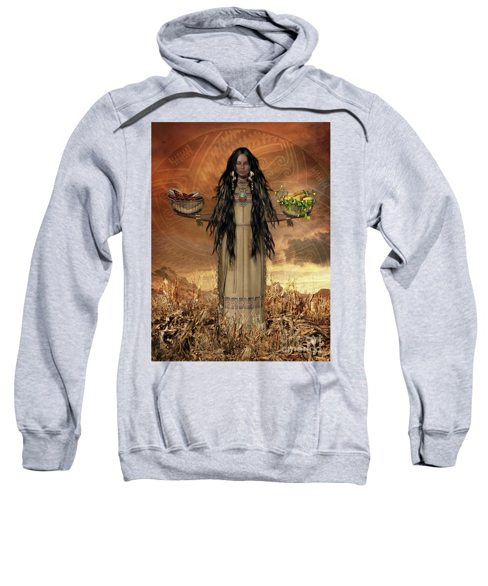 The Three Sisters Sweatshirt featuring the digital art Three Sisters by Shanina Conway